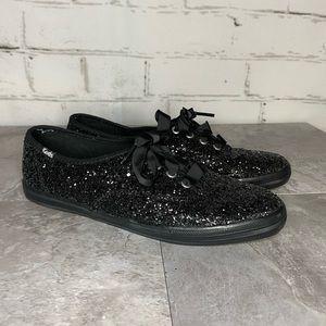 Keds Black Glitter Ribbon Lace Sneakers